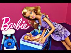Barbie BABY SITTER Peeing Baby Doll Color Changing Diaper Career Barbie DisneyCarToys - YouTube