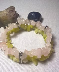citromjáde-rózsakvarc dupla szemcse karkötő
