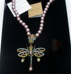 """Heidi Daus Dragonfly Necklace """"Hues The Loveliest"""" Blue Purple Crystals Pearls #HeidiDaus #Pendant"""