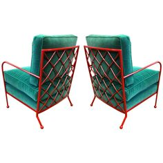 Jean Royère Rare Pair of Croisillon Arm Chairs in Red Iron ca1960