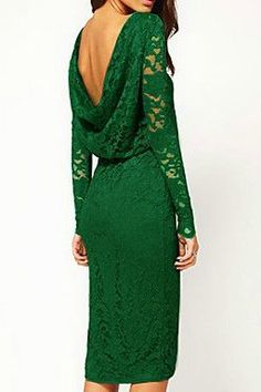 lovely green lace dress with open back