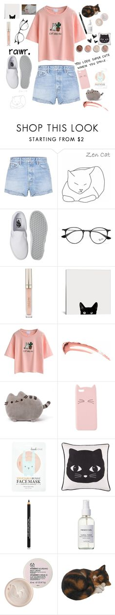 """""""👌🏼💙👌🏼"""" by yoana-lubomirova-aleksandrova ❤ liked on Polyvore featuring GRLFRND, Vans, Ray-Ban, Stila, WithChic, Pusheen, Charlotte Russe, Forever 21, Terre Mère and Estée Lauder"""