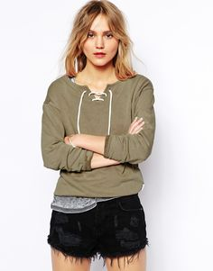 Image 1 ofRVCA Jade Sweat Top With Tie Neck Detail