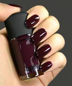 Deep red nail polish