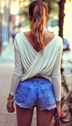 Criss Cross Back White Blouse With Denim Shorts