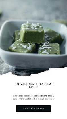 Creamy and packed full of green tea health benefits, these vegan frozen matcha lime bites are super tasty and easy to make, making them the perfect summer treat. Easy Dinner Recipes, Snack Recipes, Tasty, Yummy Food, Summer Treats, Drinking Tea, Matcha, Health Benefits, Meal Planning