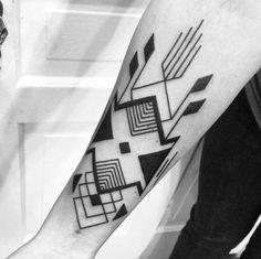 geometric tribal black tattoo by Josh Barnes