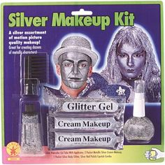 Silver Face Makeup Kit Face Paint for Halloween Costume