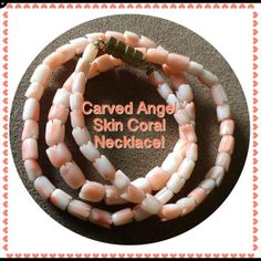 "VTG Carved Pink Angel Skin Coral Roses Necklace! Vintage Natural Carved Pink Angel Skin Coral Roses Flower Beaded Necklace! Gorgeous piece that hangs 7.5"" around the neck & measures 14.5"" end to end. Features a total of 76 natural angel skin 5-10mm x 6mm coral beads - all beautifully carved into flowers with a gold tone, twist closure. Weighs approx 12.50 grams. Tested pos using solvent vinegar test & the beads are an all natural, un-dyed pink angel skin color. Ex condition. Offers welcomed…"