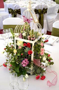 Jaula flores centro de mesa
