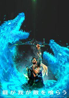 Ryu ga waga teki wo kurau - Hanzo 'Overwatch' Release the twin dragons DA… Overwatch Hanzo, Overwatch Comic, Overwatch Fan Art, Widowmaker, Badass Anime, Video Game Art, Video Games, Game Of Life, Character Art