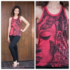Sure Design Womens Butterfly Buddha Tank Top Red