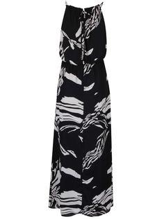 Krémovo-černé vzorované maxišaty se stažením v pase Dorothy Perkins