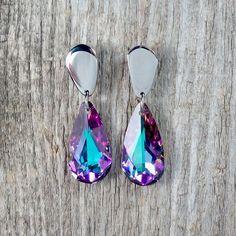 Vitrail Light Swarovski Crystal earrings Drop- Surgical Steel Jewelry by SteelJewelryShop on Etsy