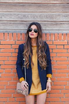 Boyfriend blazer + golden sweater dress