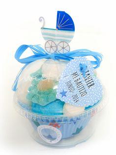 Vasito Cup Cake con Adorno de Bebé Azul | Sweet Design | Bautizo Niño
