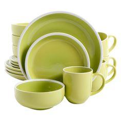 Green Orfinio Round Dinnerware 16 Piece Set