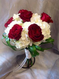 Country Elegance Florist Grand Junction, CO  Heart Roses, Hydrangea, Lilly Grass Wedding Bouquet.