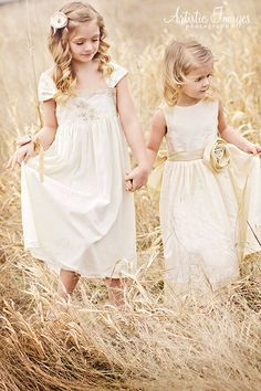 DREAMLAND Flowergirl Dresses, vintage style, bohemian style, french lace, cotton, eyelet, silk, organic, custom made for your wedding. $195.00, via Etsy.