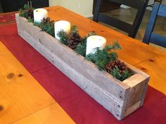 Rustic Christmas Centerpiece with DIY planter box with instructions