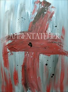 Black Heart Red Cross Original Abstract Geometric Gray Grey Acrylic Canvas Painting Religious Relic Ambient Atelier Conversation Art Design by AmbientAtelier on Etsy