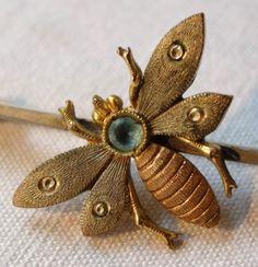 antique Edwardian art deco gilt blue rhinestone fly insect bug bar brooch -K319 in Jewellery & Watches, Vintage & Antique Jewellery, Vintage Costume Jewellery, Edwardian (1901-1910) | eBay