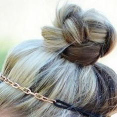 Braided top knot ..pull hair into a high ponytail, secure with elastic, braid all the way to end, twist braid around ponytail elastic