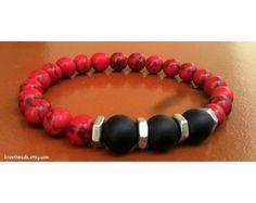 Mens Strength Bracelet Matte Black Onyx Bracelet by Krestbeads
