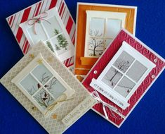 Here are 4 cards I made using the Happy Scenes Stamp Set and the Hearth and Home Thinlits Dies. De ma fenetre fenêtre Hearth and Home Thinlits Dies Fall Cards, Holiday Cards, Christmas Cards, Xmas Cards Handmade, Stampin Up, Winter Karten, Rena, Window Cards, Hearth And Home