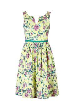 eShakti Women's Citron floral print dress 3X-24W Short Citron multi