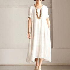 Short Sleeve linen dress summer long dressThis dress is made of cotton linen fabric, soft and breathy, suitable for summer, so loose dresses to make you comfortable all the time.Measurement: One Size Length:105cm//41.3
