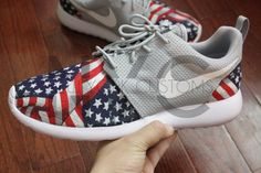 Nike Roshe Run Grey White American Flag Pride V5 Edition Custom Men & Women