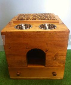 A really cool all in one litter box enclosure/feeder/cat bed. Perfect for homes where space is limited!