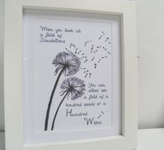 Dandelion Wishes Inspirational Print Mothers Day by TheSewingCroft, £6.00