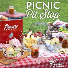 Picnic Pit Stop ~ Cute picnic ideas and recipes for outdoor entertaining -- fun idea in the middle of a road trip