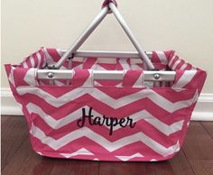 Monogram Easter Baskets- pink and white chevron- mini market tote! More fun colors - http://etsy.me/2klBfkt  HOW To Order: From dropdown selections choose thread and font style (more can be seen on Pinterest Kaileys Monogram Font board)  In NOTES to seller include Monogram Information  Monogram/letter, or name to be stitched on the basket. Thread colors - red, orange, bright yellow, navy, royal blue, turquoise, white, black, green, lime green, light pink, hot pink, lavend...