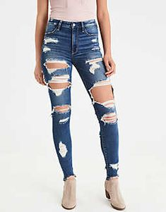 2020 Women Jeans Ripped Skinny Jeans Boyfriend Pants Boys Jeans – rosewew The Effective Pictures We Offer You About Women's Jeans outfits A quality picture can tell you many things. You can find the m Cute Ripped Jeans, Superenge Jeans, Denim Leggings, High Jeans, High Waist Jeans, Harem Jeans, Boys Jeans, Buckle Jeans, High Waisted Distressed Jeans