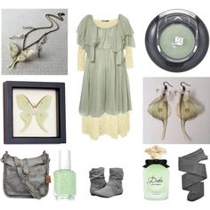 Moth in the Mist by maggiehemlock on Polyvore featuring GUINEVERE, WearAll, Trasparenze, Report, Frye, Lancôme and Dolce&Gabbana