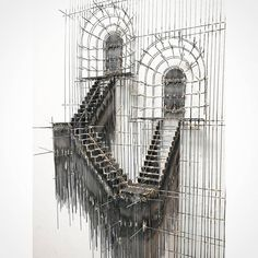Floating Staircase Sculptures Made with Wire Look Like Architecture Sketches – debbye Green Floating Staircase Sculptures Made with Wire Look Like Architecture Sketches Sketch Sculptures by David Moreno Sculpture Ornementale, Modern Sculpture, Wire Sculptures, 3d Sketch, Art Sketches, Architectural Sculpture, Laser Art, Floating Staircase, 3d Architecture