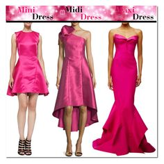 """""""Mini Midi Maxi Dresses"""" by yours-styling-best-friend ❤ liked on Polyvore featuring McQ by Alexander McQueen, Zac Posen, NOIR Sachin + Babi, Pink, dress, hot, fuchsia and springdress"""