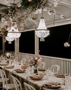#byronbay #wedding #styling #boho #bridal #weddinginspo #planning Byron Bay Weddings, Wedding Vendors, Cherry Blossom, Bridal Collection, Table Settings, Ceiling Lights, Table Decorations, Deck, Instagram