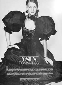 Yves Saint Laurent- 1977 Black sheer lace top, large puffy sleeves and ruffled silk skirt gown dress.With perfect bow accents on sleeves and waist. L'officiel USA Spring 1977
