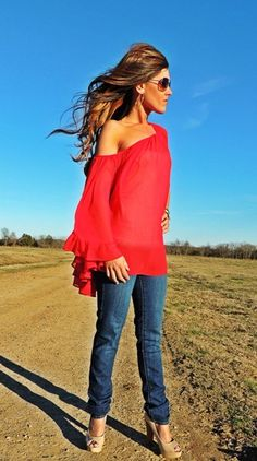 Rich Girl Red Chiffon Off Shoulder- ahhh want this!!!