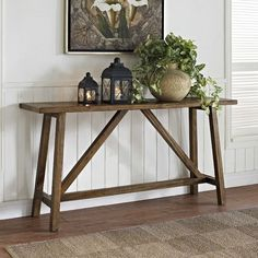 Get inspired by Rustic Living Room Design photo by Wayfair. Wayfair lets you find the designer products in the photo and get ideas from thousands of other Rustic Living Room Design photos. Rustic Console Tables, Sofa End Tables, Wood Table, Entryway Tables, Wooden Console, Foyer, Rustic Entryway, Entryway Console, Rustic Entry Table