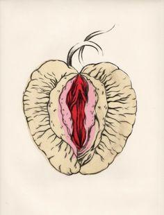 "lidia kostanek // gravure érotique ""do I dare to eat a peach? Cover Art, Art Sketches, Art Drawings, Art Du Croquis, Kunst Poster, Art Et Illustration, Anatomy Art, Fruit Art, Watercolor Drawing"