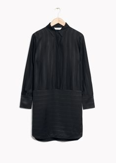 & Other Stories image 2 of Oversized Satin Shirt Dress in Black