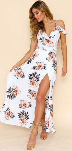 Women's Fashion V Neck Floral Print Maxi Dress