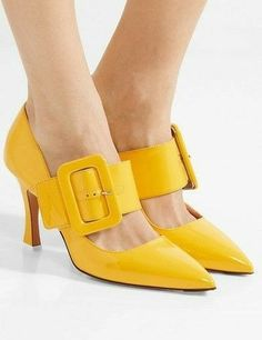 The Attico - Elsa buckled patent-leather pumps Cute Shoes, Me Too Shoes, Shoe Boots, Shoes Sandals, Yellow Shoes, Patent Leather Pumps, Mellow Yellow, Shoe Closet, Beautiful Shoes