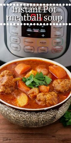 This tasty Instant Pot Meatball Soup consists of beef meatballs, carrots and potatoes all cooked in a tomato broth. It is an easy to make Italian inspired dinner that you can have on the table in 40 minutes, a perfect hearty and satisfying meal for a busy day. Italian Sausage Meatballs, How To Cook Meatballs, Using A Pressure Cooker, Pressure Cooker Recipes, Instant Pot Beef Stew Recipe, Low Carb Soup Recipes, Meatball Soup, Homemade Soup