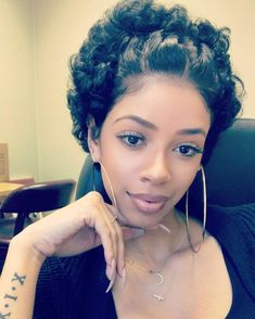 Cute-Updo-for-Very-Short-Hair In Style Short Haircuts for Black Women - Hair Styles Very Short Hair, Short Hair Styles Easy, Short Curly Hair, Short Hair Cuts, Medium Hair Styles, Curly Hair Styles, Natural Hair Styles, Short Curls, Curly Bob